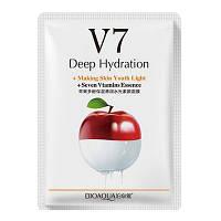 Тканинна вітамінна маска для обличчя BIOAQUA V7 Deep Hydration Яблуко
