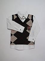 Обманка(рубашка+жилет) для полных мальчиков Турция 104р-128р