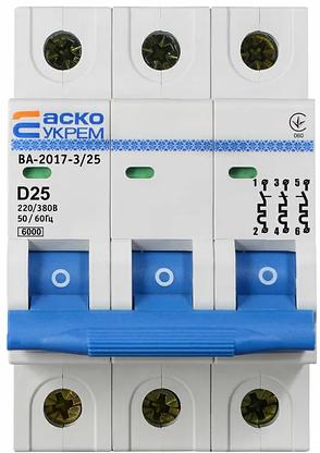 Автоматичний вимикач УКРЕМ ВА-2017/D 3р 25А АСКО A0010170103, фото 2