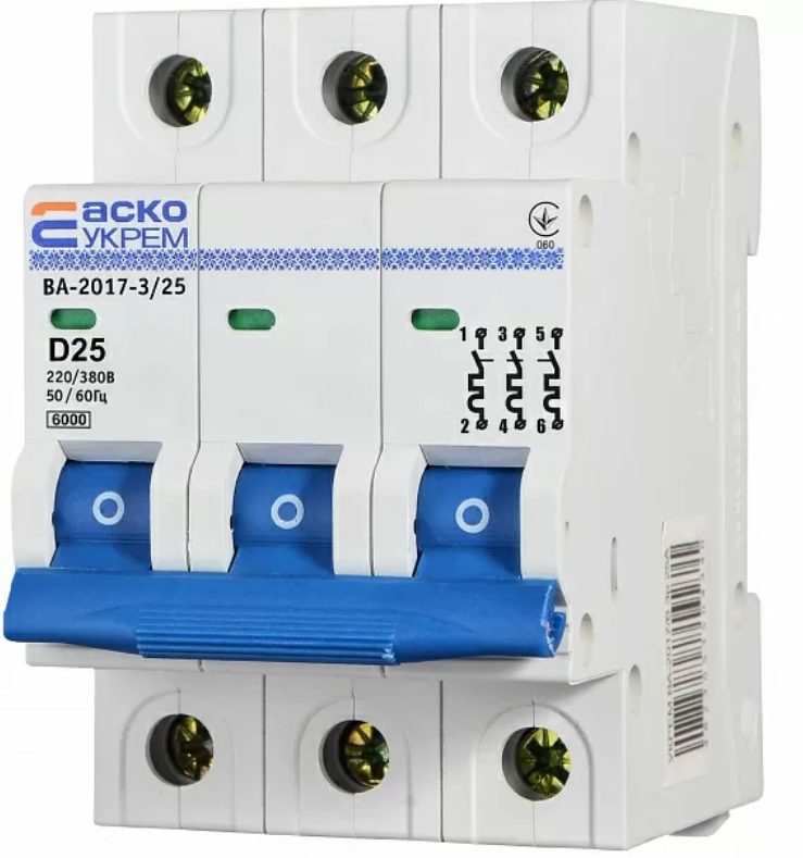 Автоматичний вимикач УКРЕМ ВА-2017/D 3р 25А АСКО A0010170103
