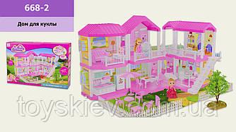 Домик 668-2 (1983088) (6шт) мебель,2 куколки,лестница,аксессуары,свет,в кор.59*15,5*40 см