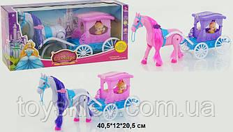 Карета 686-714|6 (1455681|4) (24шт|2) 2 вида, с лошадкой, муз, ходит, куколкой, в кор. 40*11*21см