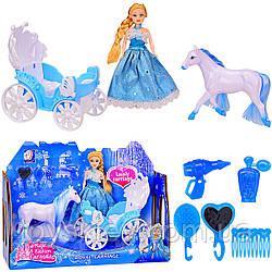 Карета 689-2A (24шт|2) с куколкой, лошадкой, парикмах.набор, в кор.28,5*8,5*21см, р-р игрушки – 12*7