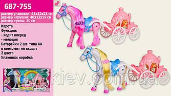 Карета R-686-755 (12шт) 2 вида,с лошадкой, куколкой, лошадка ходит, в кор.41*12*21см