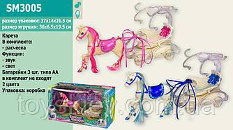Карета SM3005 (24шт|2) 2 цвета, лошадка,с расческой, в кор.37*14*21,5см
