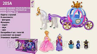 Карета 205A (12шт)  звук, лошадка ходит,с куклой,в коробке 43*26*20 см