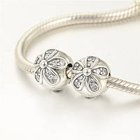 Шарм клипса Pandora Сверкающая маргаритка, серебро