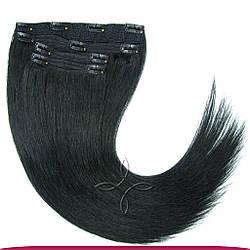 Натуральные Славянские Волосы на Заколках 45-50 см 115 грамм, Черный №01