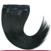 Натуральные славянские волосы на заколках 55-60 см 115 грамм, Черный №01