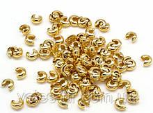 Кришка Кримпов (стоперів) Золото 3 мм 10 шт