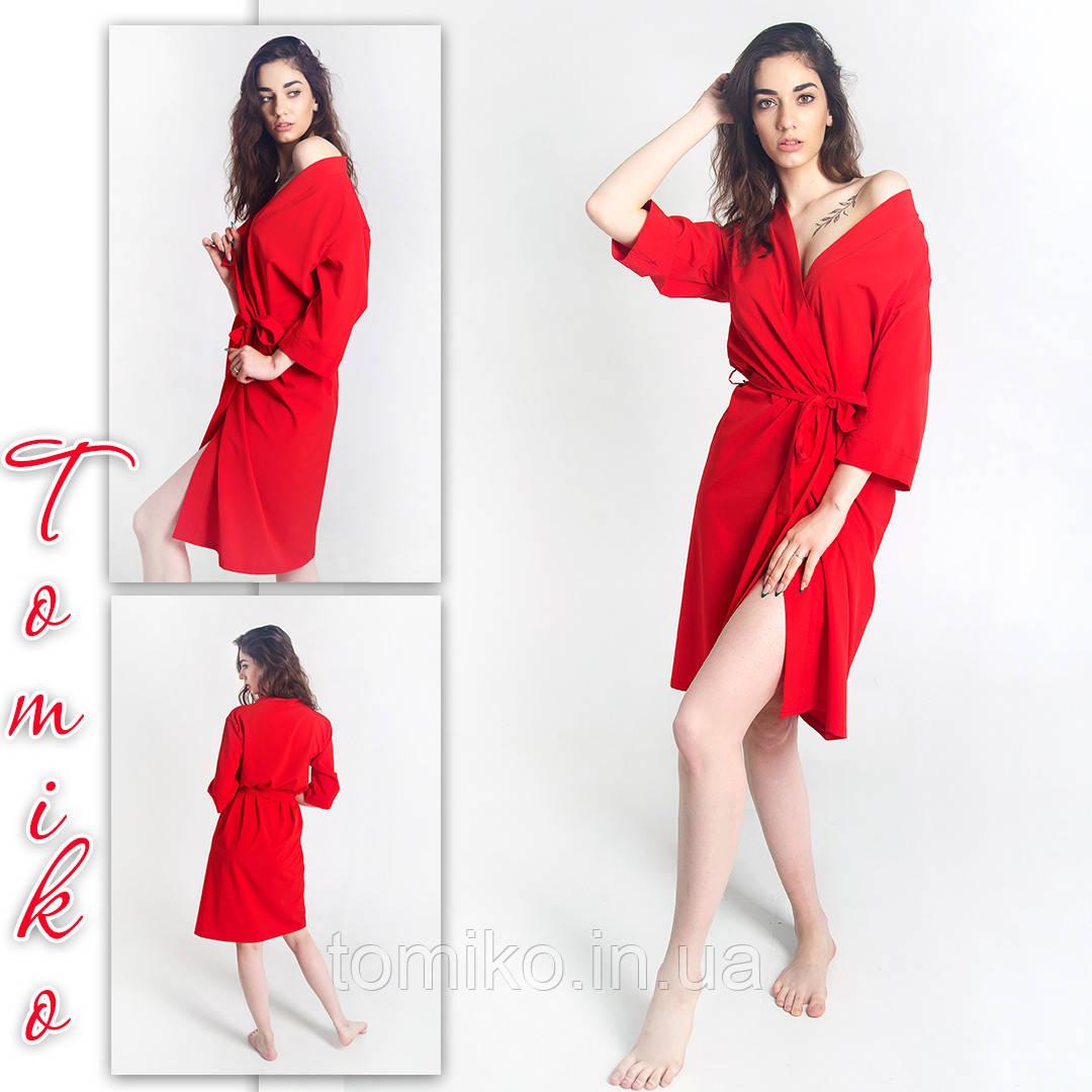 Халат шовковий кімоно червоний. Розміри 42-50.