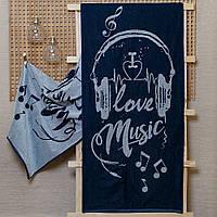 """Рушник махровий """"Love music"""" 67*150, фото 1"""
