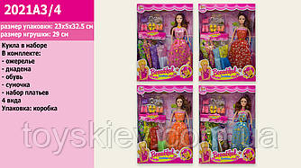 Кукла  2021A3|4 (72шт|2) 4 вида, набор платьев, аксессуары, в кор.32.5*5*23 см