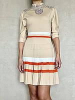 Платье женское светлое с камнями Swarovski бренд LUX копия яркое стильное молодежное приталенное, фото 1