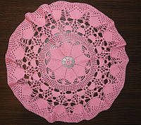 Салфетка D 40 cm. Розовая, вязаная крючком, ручная работа, круглая, прекрасный подарок на 8 марта