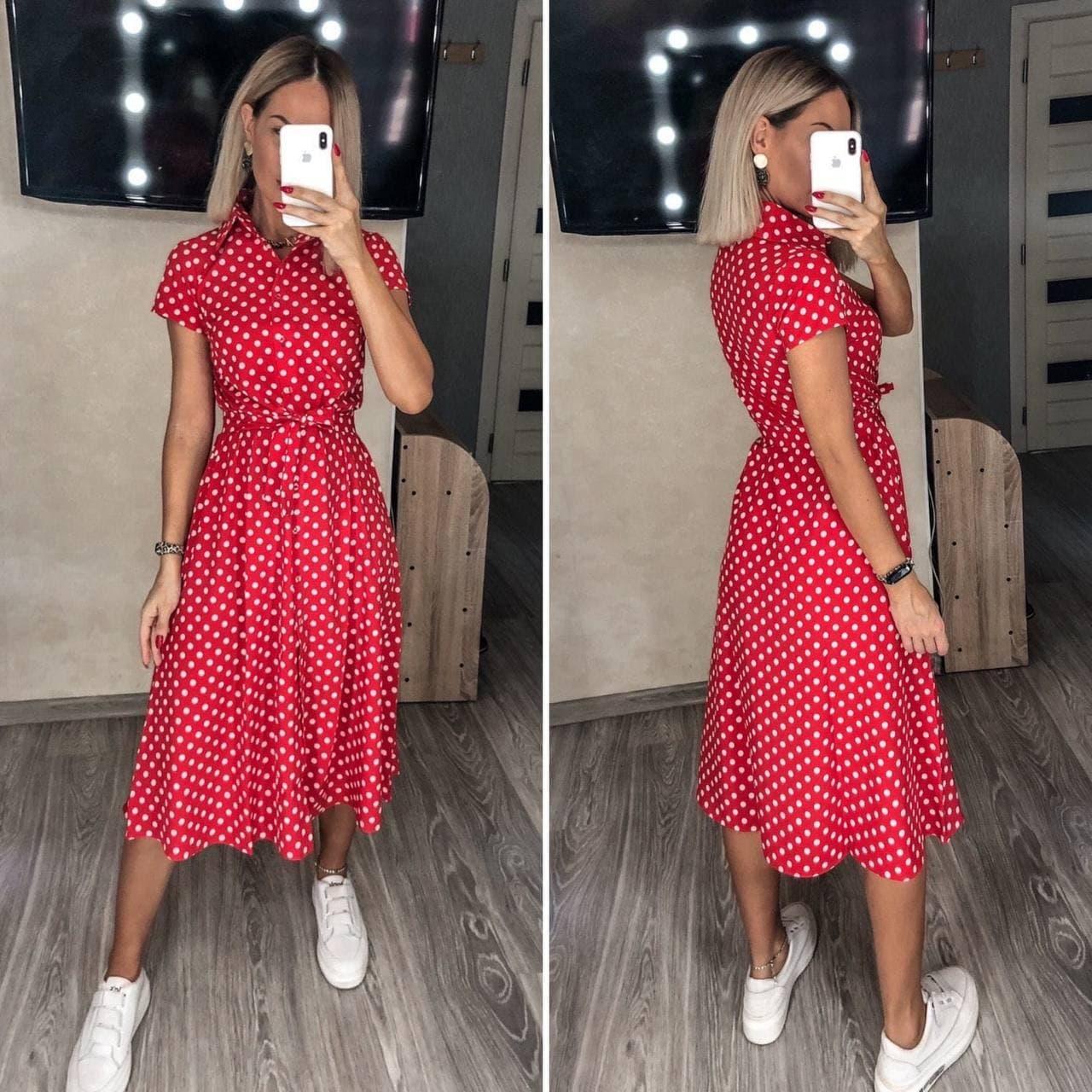 Стильное женское платье в красном цвете с поясом миди Red