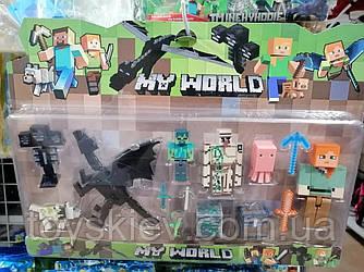 Фигурки Minecraft Герои Майнкрафт 4 фигурки, дракон, собака, осминог, оружие, аксессуары JL18333-4