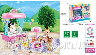 Животные флоксовые MBE18-6 (24шт|2)мороженое-машина,свет,звук,2 фигурки,столик, в коробке 33*25,8*11