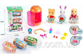 Животные флоксовые MBE18-8 (30шт)колба-фонарик,фигурки с аксессуар,3 колбы, в коробке 24*14,5*8,5см