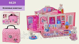 Ігровий набір з флоксовыми тваринами 6629 (12шт)затишний будинок, у наборі 2 фігурки, в коробці 44*13,5*31
