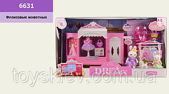 Игровой набор с флоксовыми животными 6631 (18шт)магазин одежды, в наборе 2 фигурки(9см;7см), в короб