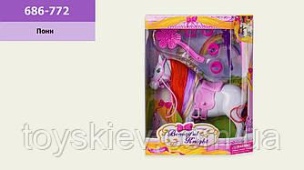 Лошадь  686-772 (72шт|2) с аксессуарами,в кор. 18*6*23 см, р-р игрушки – 17*5*16.5 см