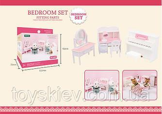 Мебель для флоксовых животных  B05 (120шт) Спальня с пианино, |фигурки животных  в набор не входят|,