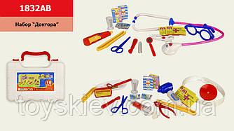 Доктор 1832AB (72шт) 2 види,стетоскоп,градусник,шприц,аксесуари,у валізі 19*7*15 см