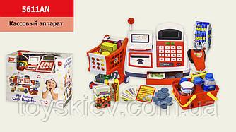 Кассовый аппарат 5611AN (8шт 2) батар.,звук, свет, с продуктами, корзинкой, деньгами,р-р игрушки-20.