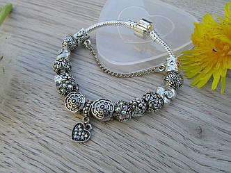 Женский браслет в стиле Пандора PANDORA каменое серце