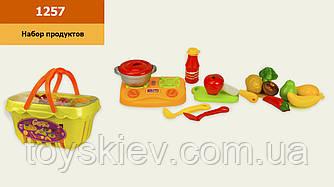 Набір продуктів 1257 (36шт 2) продукти на липучках,плита,посуд,у кошику 24*18*23 см