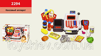 Касовий апарат 2294 (18шт 2) батар.,звук, продукти,кошик,мікрофон, р-р іграшки– 27*14*10 см, у