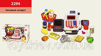 Кассовый аппарат 2294 (18шт 2) батар.,звук, продукты,корзинка,микрофон, р-р игрушки – 27*14*10 см, в