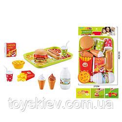 """Набір продуктів """"Фаст фуд"""" BQ801H-1 (48шт) бургер розбирається,картопля фрі,морозиво,напої,піднос,"""