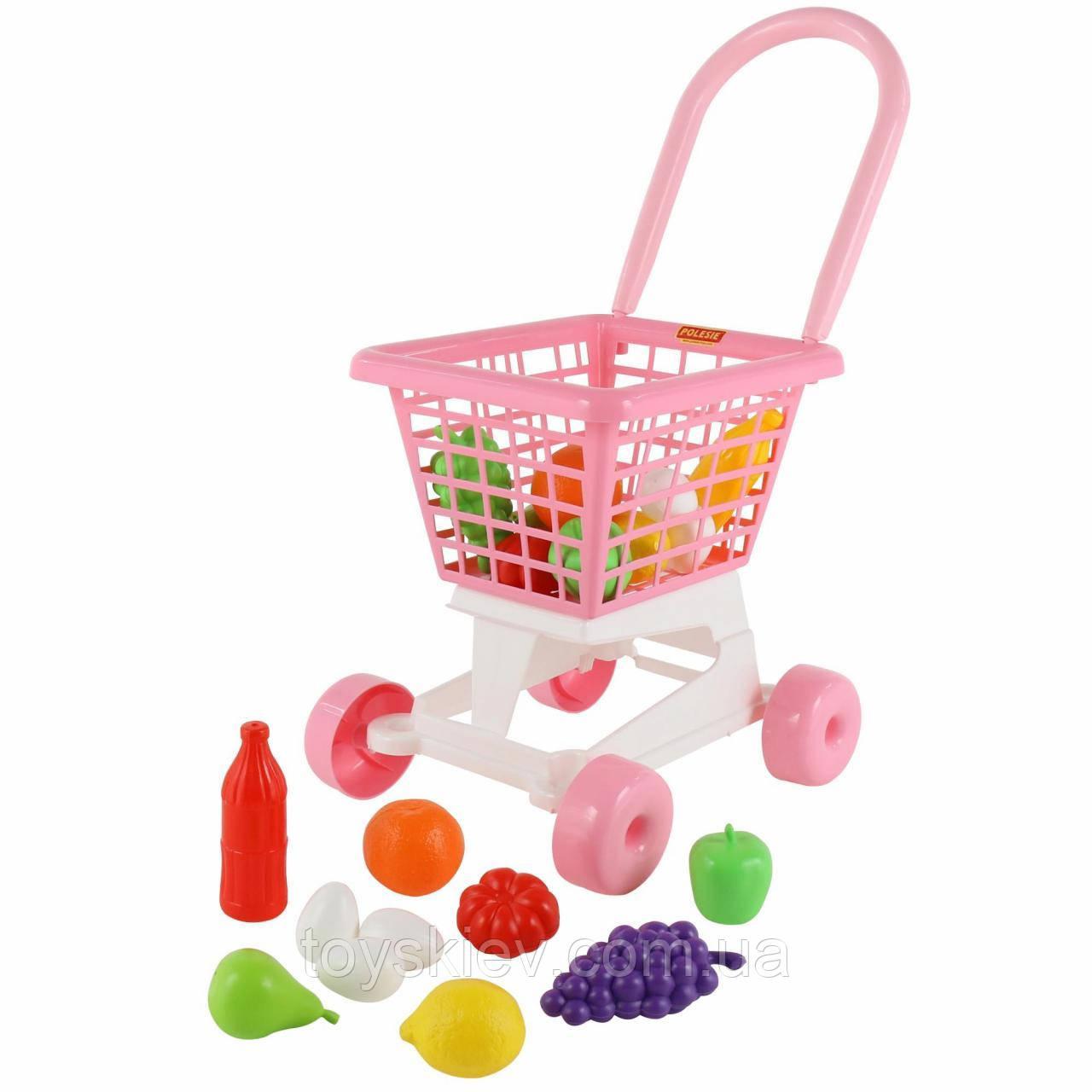 """Візок """"Supermarket"""" №1 (рожевий) Набір продуктів (у сіточці) 36,5*31*24 см"""