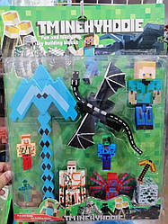 Фигурки Minecraft Герои Майнкрафт 4 героя, паук, дракон, кирка A 230-1