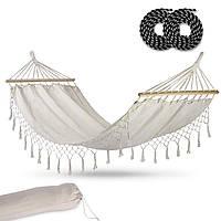 Гамак садовый Toledo Single 200×100 см бежевый 4130 подвесной тканевый пляжный дачный натяжной лежак качели