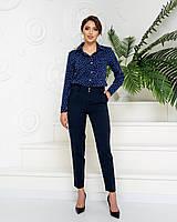 Стильні штани арт. 601 + нарядна блузка в горох арт. 600 / колір темно синій - ваш готовий образ!
