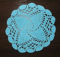 Салфетка, D 26 cm, ручная работа, синий