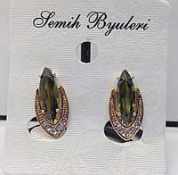 Позолоченные серьги с зелёным кристаллом. Женская бижутерии Fallon Jewerly опт. 4