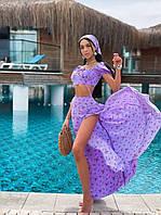 Костюм женский нежный топ со сборкой и рукавами фонариками и юбка макси с разрезом и косынка Km1215, фото 1