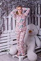 Піжама дитяча для дівчинки фланель сорочка на гудзиках та штани 307/iveta єдиноріг
