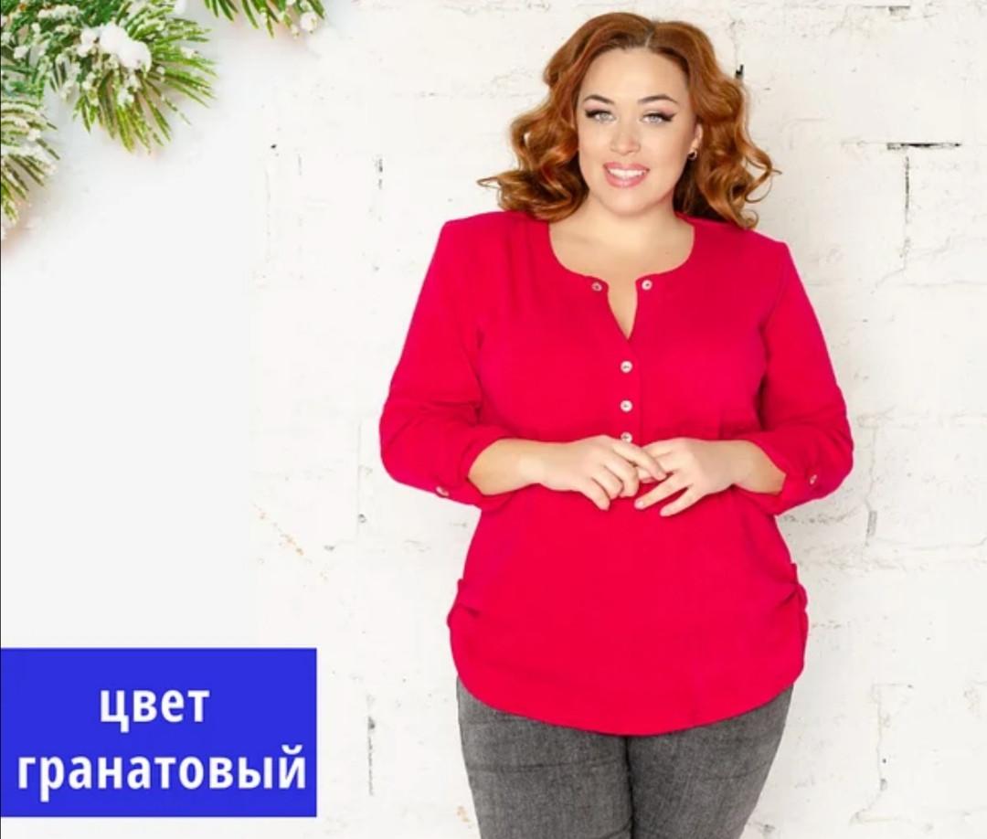 """Модна блузка з ангори з 52 до 68 розміру """"Алесся гранатова"""""""