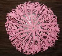 Салфетка D 26cm. Розовая паутинка, вязаная крючком, ручная работа, круглая, прекрасный подарок на 8 марта
