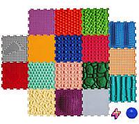 Ортопедический массажный коврик БОГАТЫРЬ 17 элементов , Пазлы Ортодон детский, развивающий модульный