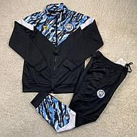 Тренировочный костюм футбольного клуба Манчестер Сити черно-голубой на полной змейке