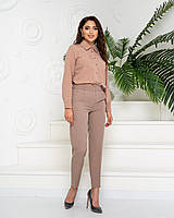 Стильні класичні брюки арт. 601 у поєднанні з ошатною блузою арт. 601 / колір кава - ваш готовий образ!