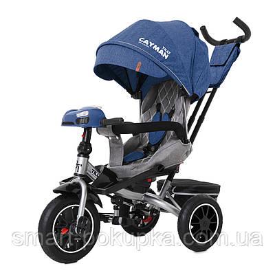 Велосипед триколісний TILLY CAYMAN з пультом і посильоною рамою T-381/7 Синій льон /1/