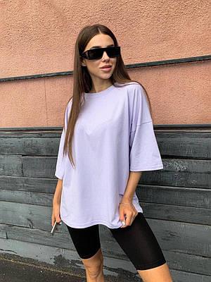 Женская летняя однотонная футболка оверсайз