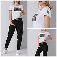 Женская модная хлопковая турецкая футболка с надписью из камней, FP 2098, фото 1